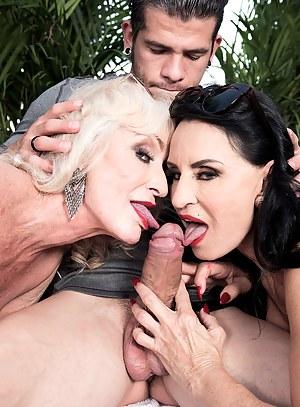 MILF Double Blowjob Porn Pictures